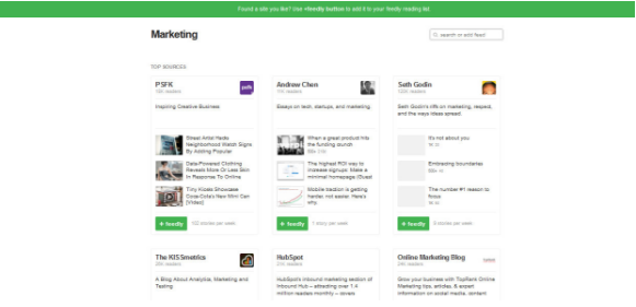 screenshot feedly thema marketing