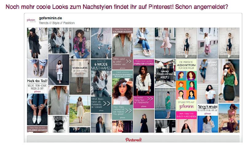 Pinterest Board eingebettet auf Website Gofeminin