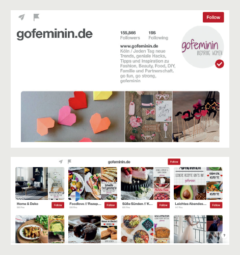 Pinterest Profil gofeminin.de