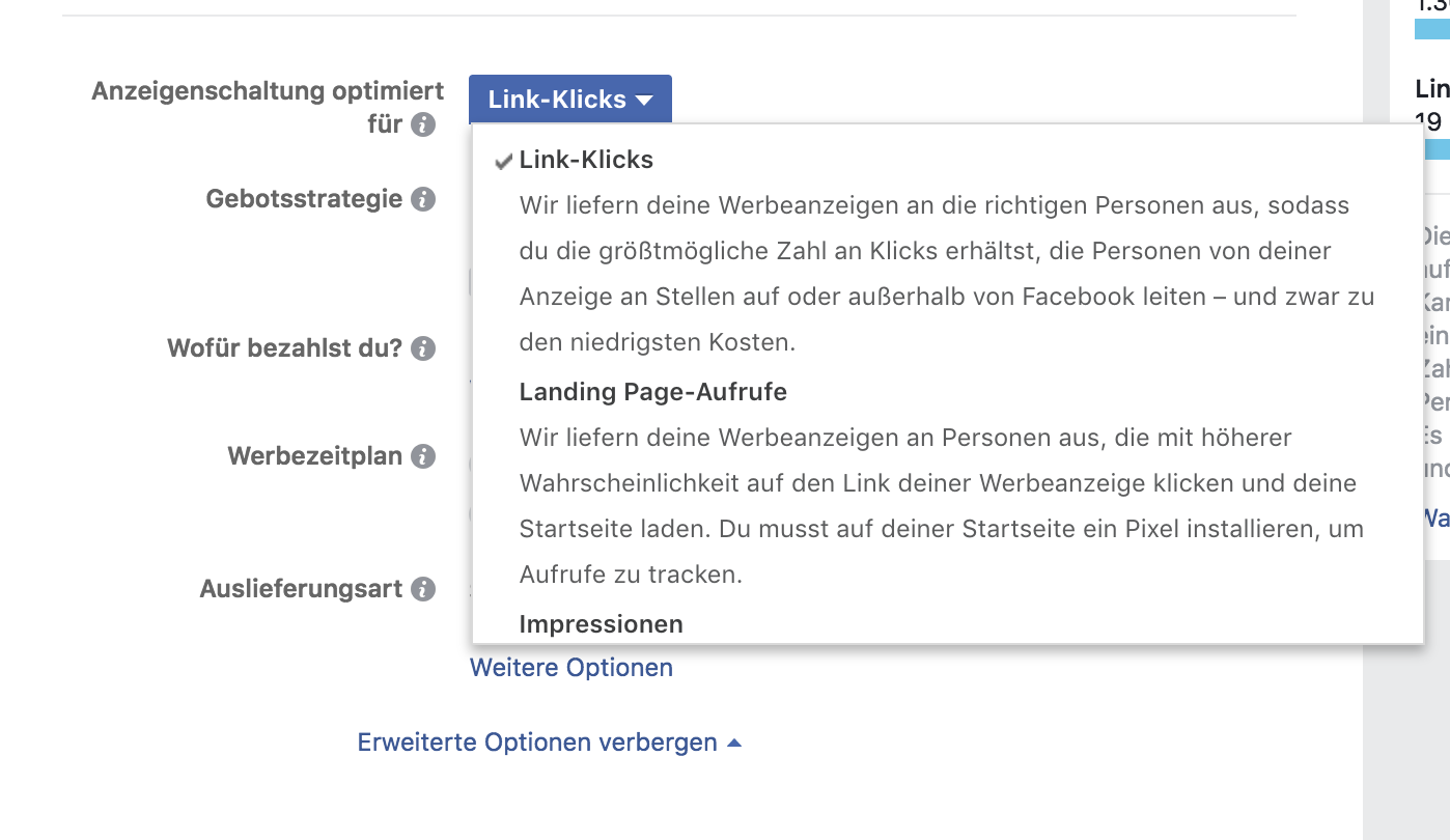 Screenshot Facebook Werbeanzeigenmanager