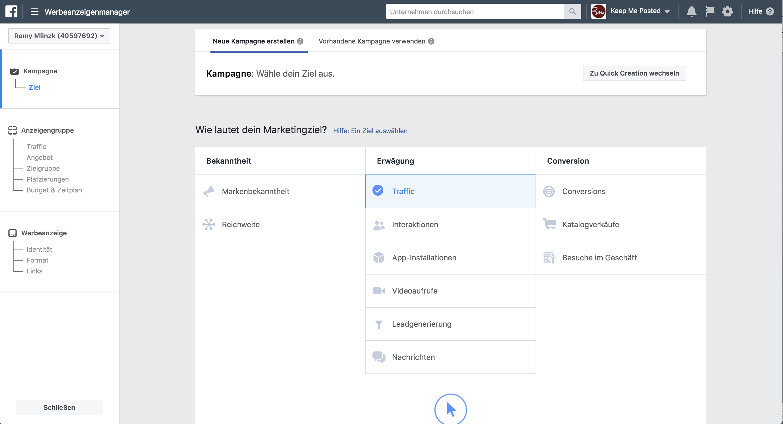 Screenshot Ziele Facebook Werbeanzeigenmanager